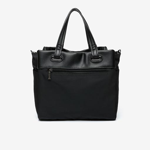 trasera del bolso shopper abhimana en color negro de la marca abbacino