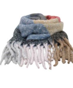 bufanda rayas-cuadros jaspeada en color camal