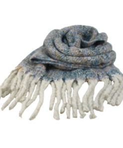 bufanda rayas jaspeada en color azul